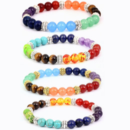 Precious gold online shopping - 4 Styles Semi Precious Stone Bracelet Chakra Ctystal Healing Balancing Reiki Yoga Jewelry Free Shiipng Christmas Gift B126S