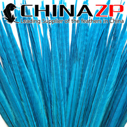 Blue Costume Tail Canada - CHINAZP Crafts Factory 50pcs lot 50~55cm(20~22inch) Length Good Quality Dyed Light Blue Ringneck Pheasant Tail Feathers for Decorations