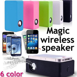 amplified speakers UK - Magic Boose Wireless Induction Audio Speaker Interaction Amplifying Speakers Near Field Subwoofers For Smartphone iPhone 6 Note 4 S5 Etc