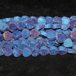 love crystals gemstones Canada - 10mm 15.5inch strand Titanium Blue Druzy Agate Bead Natural Heat Gemstone Crystal Quartz Druzy Agate Necklace Pendant Jewelry Make Connector