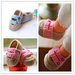crochet baby boy summer shoes NZ - Brown handmade crochet baby Boy shoes with Blue buttons, Ballerina Newborn Baby Shoes, baby booties 0-12M customize