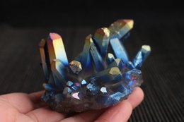coating quartz NZ - 150-200g natural crystal colorful cluster vacuum ion quartz titanium coated plating rainbow flame aura reiki amethyst crystal healing point