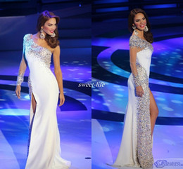 Wholesale Miss Venezuela Pageant Evening Dresses White Sheath One Shoulder Long Sleeves Side Split Bling Crystals Sexy Prom Gowns Celebrity Dress
