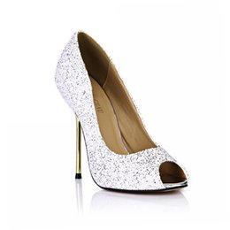 White Glitter Peep Toe UK - CHMILE CHAU Spring Glitter Sexy Wedding Party Women Single Shoes Stiletto Iron High Heel Peep Toe Fashion Bridal Ball Ladies Pumps 3845-a14