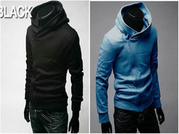 Barato Camisola De Pulôver Com Pulôver Fino-Homens de camisola do Assassin Creed Mens Slim Fit oblíqua Zipper jaquetas stand-up gola capuz casacos zíper oblíqua escovado jaquetas de homens