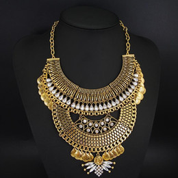 $enCountryForm.capitalKeyWord Canada - N00572 12pcs Factory Price Free DHL Luxury Retro Jewelry Maxi Multi layer Chain Rhinestone Bib Chunky Statement Pendant Necklace