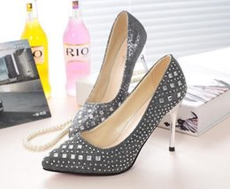 Discount chunky high heels dress shoes - luxury The crystal Wedding shoe 4 colors to choose bride shoes diamond High heels Formal dress shoes 34-39
