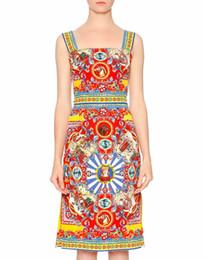 Mode Print Frauen Mantel Kleider Square Kragen Sling Kleider 1215111E