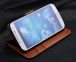 genuine leather cover for s4 NZ - Excellence For Samsung S4 Case Original Flip Purse Wallet Stand Cover Luxury Genuine Leather Case For Samsung Galaxy S4 I9500