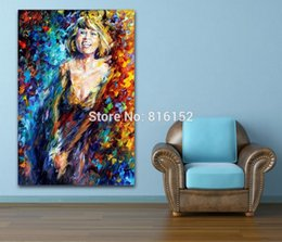 $enCountryForm.capitalKeyWord NZ - Palette Knife Oil Painting Figure Painting Smiling Sexy Girl Picture Canvas Prints Mural Art for Home Office Hotel Wall Decor