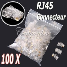 rj 45 modular plugs NZ - Wholesale 100Pcs lot Clear Metal RJ45 RJ-45 UTP CAT5 Cat5E Crystal Modular Plug Ethernet Lan Networking Network Connector order<$18no track