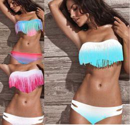 Girls Fringe Bikinis Canada - Hot Women's Fringe Bikini Swimwear Solid & Ombre Fringe Strap Halter Padded Girl Lady Swimming Swimsuit bathing Suit Top & Bottom