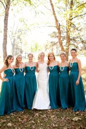 Hunter Green Chiffon Dresses Canada - Hunter Green Chiffon Long A-Line Bridesmaid Dresses Ruched Sweetheart Floor Length Elegant Evening Prom Dress With Sash Plus Size Cheap