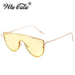 Discount green tint sunglasses - WHO CUTIE Oversized Yellow Sunglasses Men Women Retro Tint Clear Lens Rimless Frame Optical Sun Glasses Rya Shades OM420