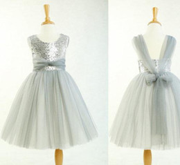 $enCountryForm.capitalKeyWord Canada - Tulle flower girl dress, grey toddler girl dress, backless flower girl dress, rustic baby girl dress, sequins flower girl dress for wedding