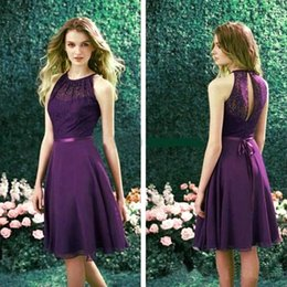 Barato Vestidos De Cocktail Vintage Baratos-2015New Navy Blue Short Party Dresses Halter A Line Chiffon Comprimento do joelho Cheap Bridesmaid Dresses Cocktail Homecoming Vestidos Prom Dress CPS214