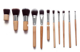 Goat Hair Dhl Canada - Cosmetics Maquiagem Profissional 11 Pcs Professional High Quality Bamboo Makeup Brush Set Goat Hair Cosmetic Brushes Kit with Bag Dhl 500
