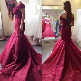 Nude bead cocktail dress online shopping - 2017 Evening Dresses Burgundy Off Shoulder Lace Applique Beads Ruched Court Train Tulle Mermaid Vestidos Plus Size Cocktail Party Prom Gowns