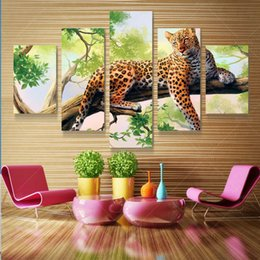 Canvas Art Prints For Sale NZ - 5 Panel Leopard Pictures Oil Painting Wall Decor Canvas Pop Art Cuadros High Defination Prints For Living Room Unframed Hot Sale