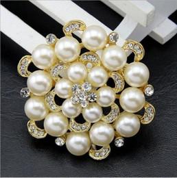 Pins Big Canada - 5PX Wedding Bridal Big Gold Or Silver Plated Crystals Pearl Brooches Brooch Pins