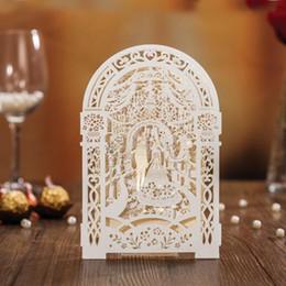 Wedding Groom Figures NZ - Weddding Invitation Card Elegant Laser Cut White Paper Event Party Supplies Decoration Groom and Bride Floral Invitations