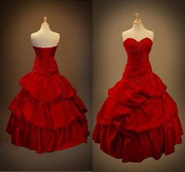$enCountryForm.capitalKeyWord Canada - Vintage Red Wedding Dresses Ball Gowns Sweeheart Ruffles Back Corset Applique Lac Gothic Bridal Dresses Vestidos de Novia