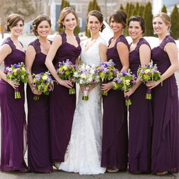 elegant chiffon bridesmaid dresses Canada - 2017 Elegant Eggplant Purple Chiffon Bridesmaid Dresses Long Scoop Lace Shoulder Sheath Maid Of Honor Wedding Guest Gown Custom EN11086