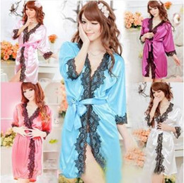 5 Colors Lace Bathrobe Sexy Lingerie Sleepwear Dress Sexy Sleepwear for Women  Lace Sleepshirts Sexy Nightgowns Sleeping Dress CCA7955 200pcs 8affaa1d9