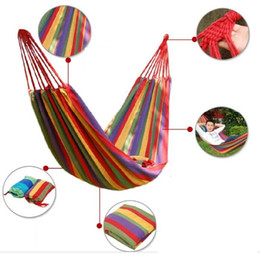camping swing Australia - 30 pcs Travel Camping Hammock Camping Sleeping Bed Travel Outdoor Swing Garden Indoor Sleep Rainbow Color Canvas Hammocks about 280cm*80cm