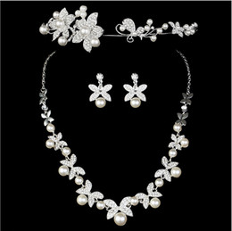 elegant rhinestone crown tiara 2021 - 2015 Elegant Charm Plated Wedding Bridal Pearl Flower Rhinestone Crystal Necklace Earring Jewelry Set