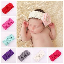 wool head bands 2020 - Boutique Xmas Newborn knit elastic Head Wrap knitting wool rose hair band baby baptized Headband Turban Twist knotted He