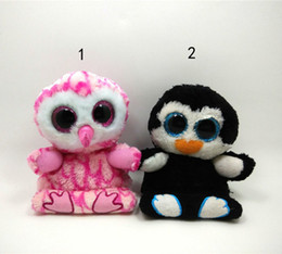 6inch Phones Canada - EMS 6inch TY penguin owl Plush Toys 2016 NEW children cartoon 15cm Lovely Rainbow colors Mobile phone seat Plush Toy Doll B001