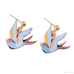 $enCountryForm.capitalKeyWord Canada - Hot Girls Stud Earrings Mini Swallow Shape Earrings 23*23mm Alloy Bird Multicolor Bird Stud Earrings For Women Jewelry jl-268