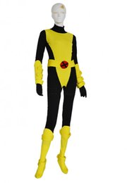 Costume Spandex Jaune Pas Cher-Black Yellow X-Men Kitty Pryde Spandex Superhero Costume Halloween Cosplay Lycra Spandex Zentai Suit XCC23146