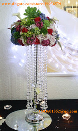 """Acrylic Crystal Centerpieces Canada - H28""""Sparkling acrylic beaded ring chandelier crystal wedding centerpieces with tear drop pendants for tables"""