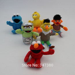 Sesame Toys Canada - Wholesale-New Arrival 13-18cm Sesame Street Elmo Doll Puppet Plush Toy Christmas Gift 6pcs set