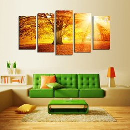 Art Canvas Prints Australia - Luxry Unframed 5 Panels Sunset Trees View Picture Canvas Print Painting Artwork Wall Art Canvas painting Wholesale For Home Deco