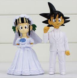 $enCountryForm.capitalKeyWord NZ - 2pcs set Dragon Ball Son Goku Chichi Wedding Figure Toys doll PVC Gift For Friends EMS Free shipping