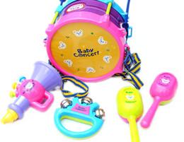Discount children drum set - New Roll Drum Musical Instruments Band 1 set=5pcs Kit Kids Children Toy Gift Set Free Shipping