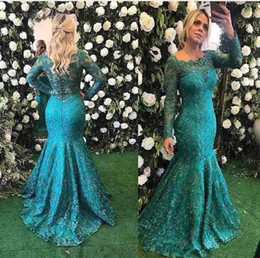 lace long sleeve fishtail dress NZ - Barbara Melo Long Sleeve Lace Mermaid Evening Formal Dresses 2018 Teal Burgundy Beaded Full length Fishtail Prom Party Gowns Cheap