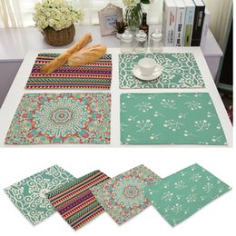 2018 Western Kitchen Accessories Wholesale  42x32cm Geometry Pattern Cotton  Linen Western Pad Placemat Insulation Cloth
