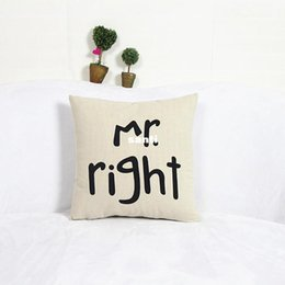 Funny cushion cases online shopping - Fashion Hot Popular Funny Mr Right Mrs Al ways Right Print Blend Cotton Linen Pillow Case Bed Sofa Cushion Cover Home Accessories