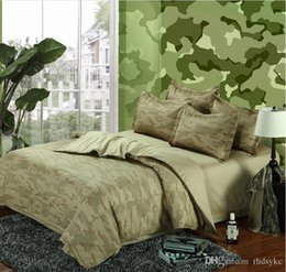 pure beds NZ - Camouflage Army 4pcs bedding sets king queen size pure cotton adult Childrens Bedding Sets 4 pcs green new