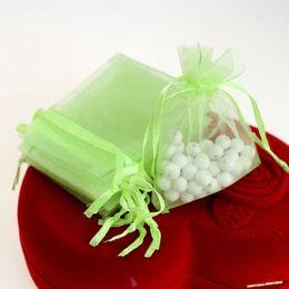 $enCountryForm.capitalKeyWord Canada - 7x9cm Light Green Organza Jewelry Gift Bags Wedding Favor Gift Bags Coffee Beans Sack Customed Logo Printed 100pcs lot Wholesale