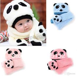 Boys Scarf Gloves Canada - Wholesale-2pcs Toddler Infant Unisex Girl Boy Baby winter Kids Hat Cap Beanie+Scarf sets Panda Cartoon 1-5Y Headwear 4 color