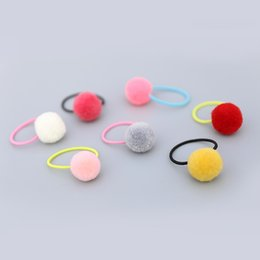 hair rope princess Canada - Wholesale Boutique 30pcs Fashion Cute Candy Color Balls Pom Pom Elastic Hairbands Cute Hair Ties Rubber Gum Rope Princess Headware