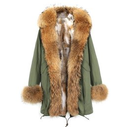 $enCountryForm.capitalKeyWord Canada - Fashion Jazzevar brand khaki fur liner army green canvas long jackets with brown fur trim hoody