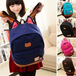 $enCountryForm.capitalKeyWord NZ - Free Shipping Women Lady Canvas Satchel Lovely Sweet Casual Backpack Korean Floral Cat Stylish Bookbag Bag Blue Black Red Brown