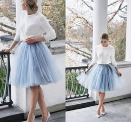 Filles Tutu Bleu Pâle Pas Cher-Short Light Blue Tutu Robes de demoiselle d'honneur Cheap Girl Skirts A Line Sheer Tulle Women Party Dress 2016 Popular Maid of Honour Gown