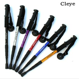 poles direct 2018 - Cleye aluminum alloy four sections avoid shock, straight handle, hiking staff, cane walking, outdoor goods manufacturers
